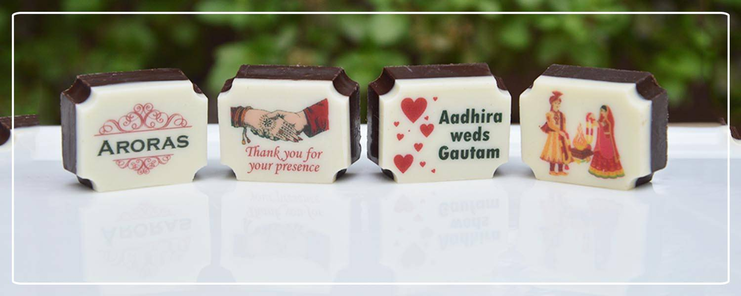 printed chocolates for wedding return gifts