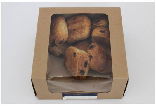 box of croissants prior to makeover to eco friendly packaging for baked goods, canada