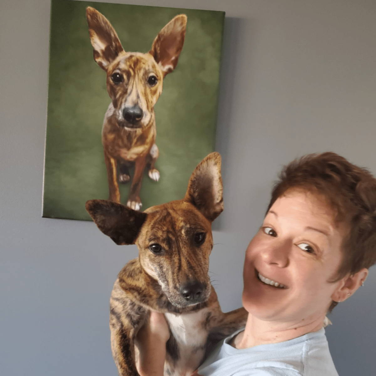 Women with my pooch face dog painting