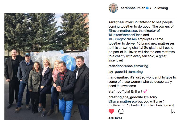 Sarah Baeumlers Instgram Post about donating mattresses with Haven Sleep Co and Haltons Womens Place and Burlington Nissan