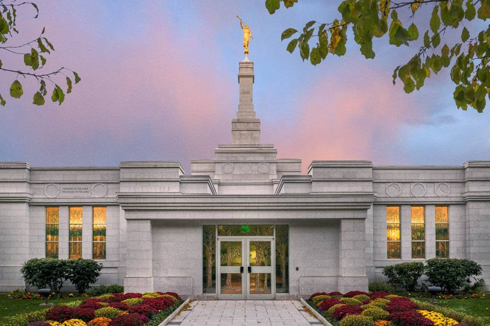 LDS art photo of the Palmyra New York Temple entrance against a pastel sky.