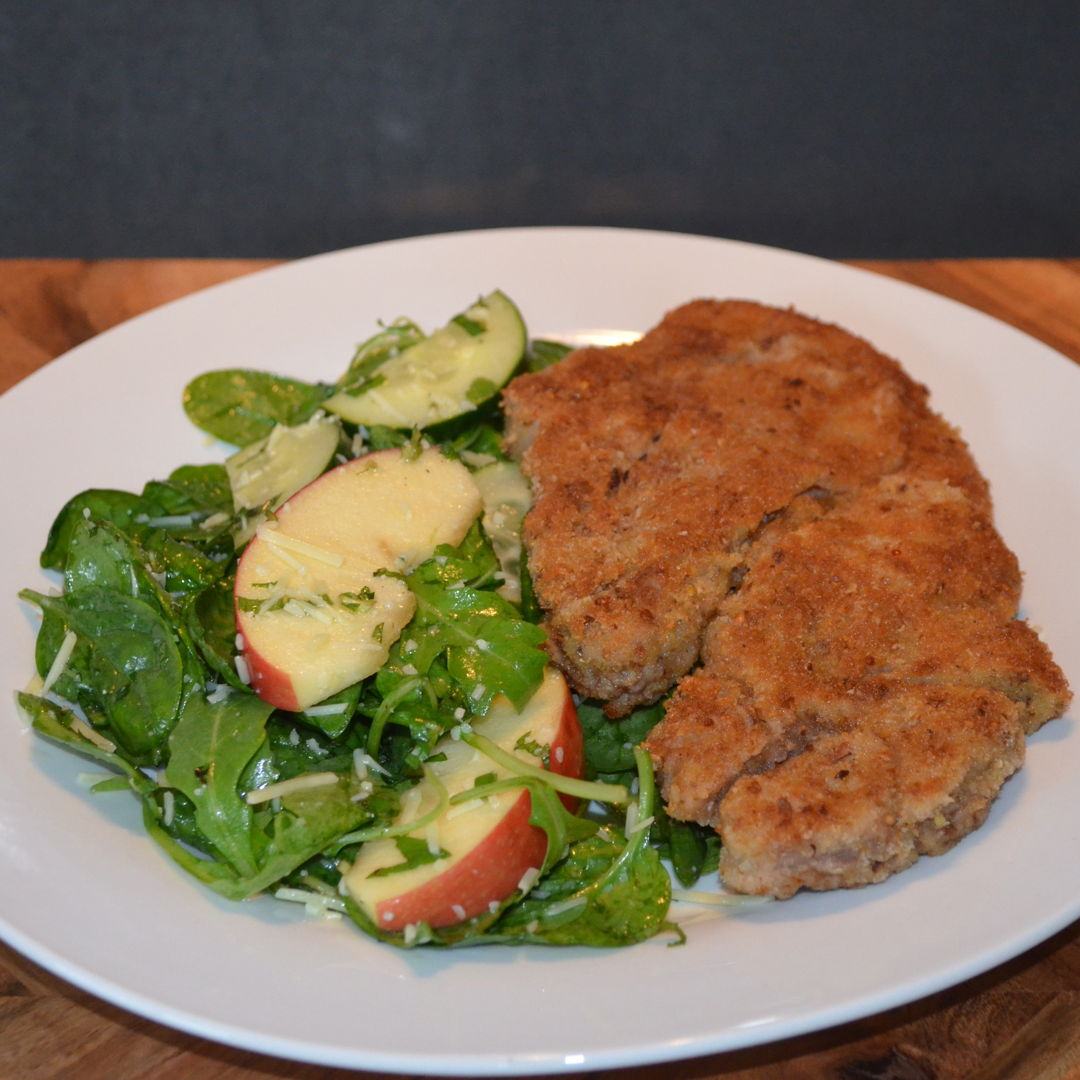 Date: 14 Mar 2020 (Sat) 83rd Main: Lamb Schnitzel with Crunchy Apple, Mint & Parmesan Salad [272] [157.0%] [Score: 8.5] Cuisine: German Dish Type: Main Lamb schnitzel is a healthy home-cooked delight. It is paired with a fresh apple, mint and Parmesan salad that is dressed to impress.