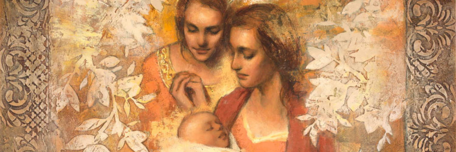 LDS art painting of a young mother holding her infant. And angel looks on with a smile.