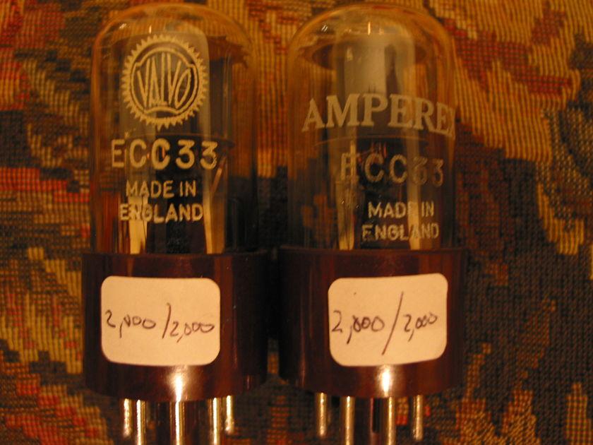 Mullard ECC33, 6SN7GT Matched Pair