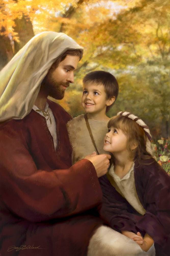 LDS art painting of Christ talking with two children.