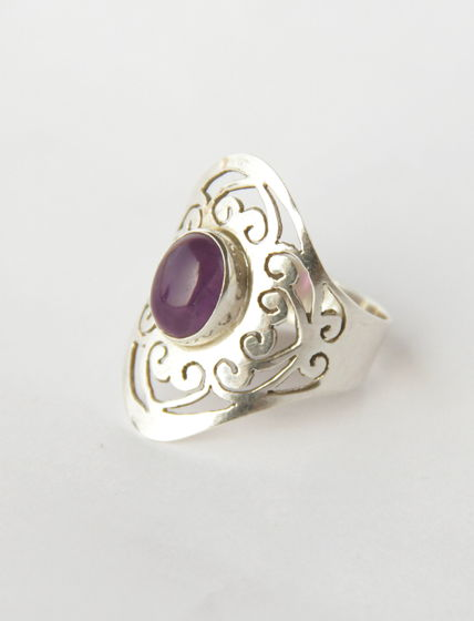 Резное серебряное кольцо с аметистом