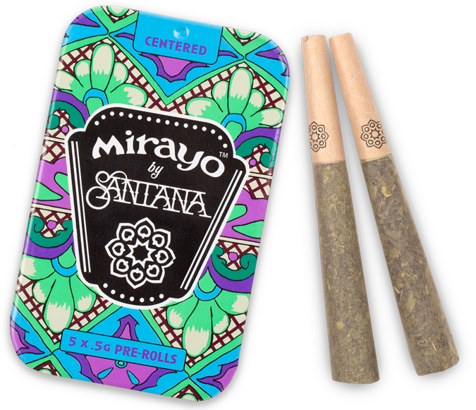 image of Mirayo indica cannabis tin and joints