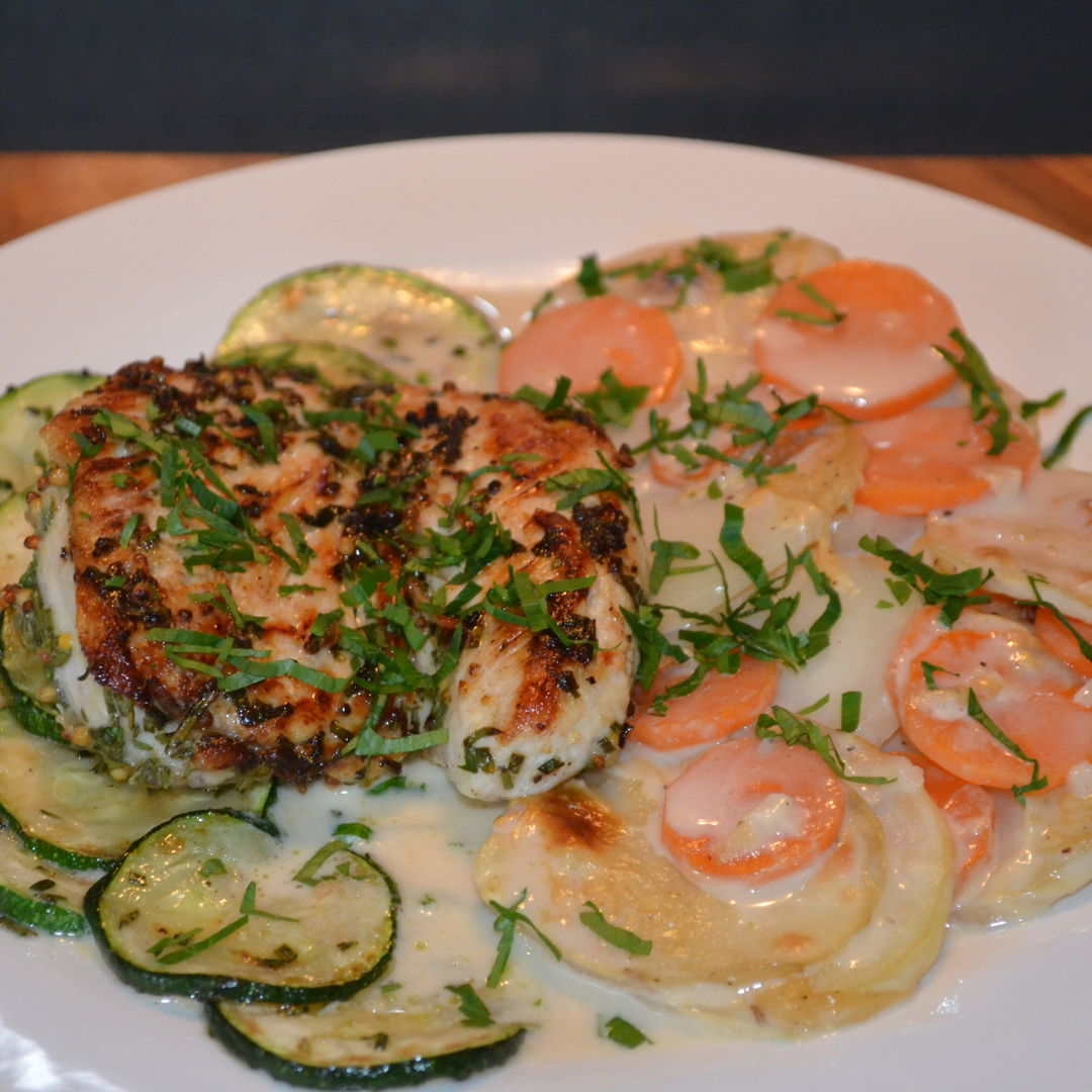Date: 18 Apr 2020 (Sat) 105th Main: Herby Chicken Breasts with Dauphinoise Potatoes & Zucchini [311] [157.7%] [Score: 10.0] Cuisine: French Dish Type: Main