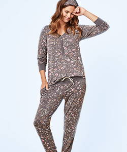 This is J Henley Harem bamboo pajama set, Emmy Flower, charcoal grey.