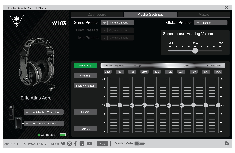 Paramètres audio - control studio