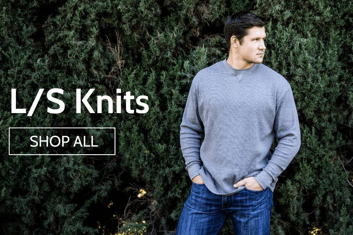 Man wearing l/s knits