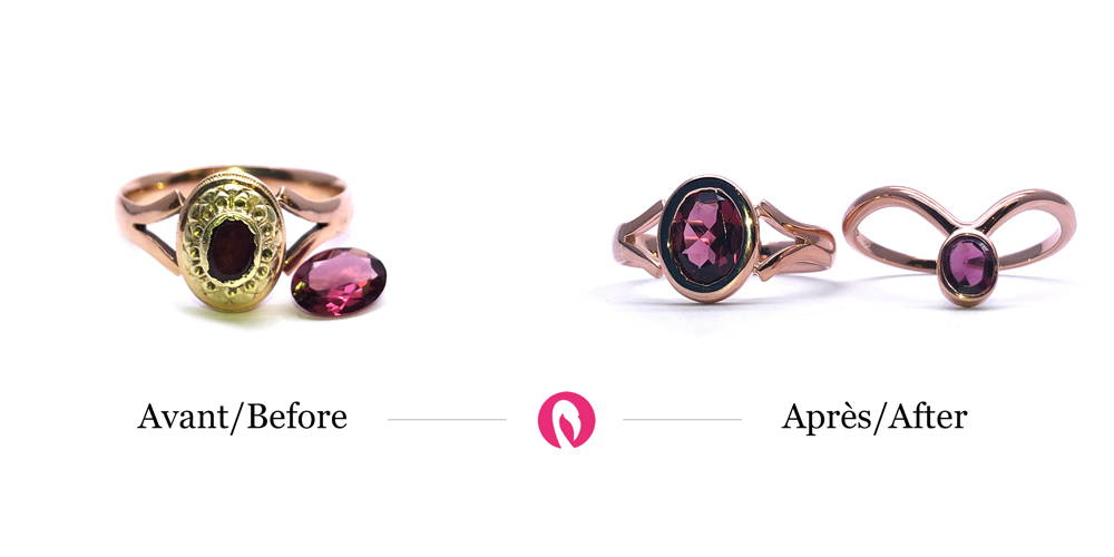 Transformation of an old wedding ring into rose gold rings with rubies