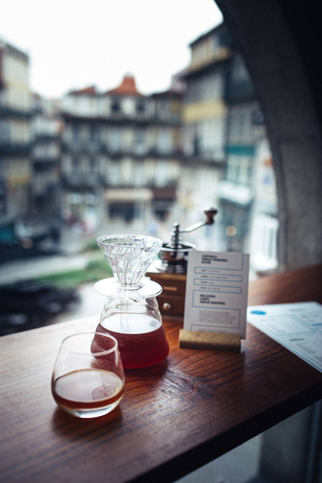 Drip coffee with window view at SO Coffee Roasters coffee shop inside The Feeting Room in Porto