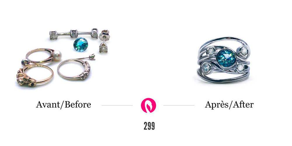 Transformation de plusieurs bijoux en or avec diamants en une bague entrelacée en or blanc avec diamants et ajout d'un topaze bleu en plein centre.