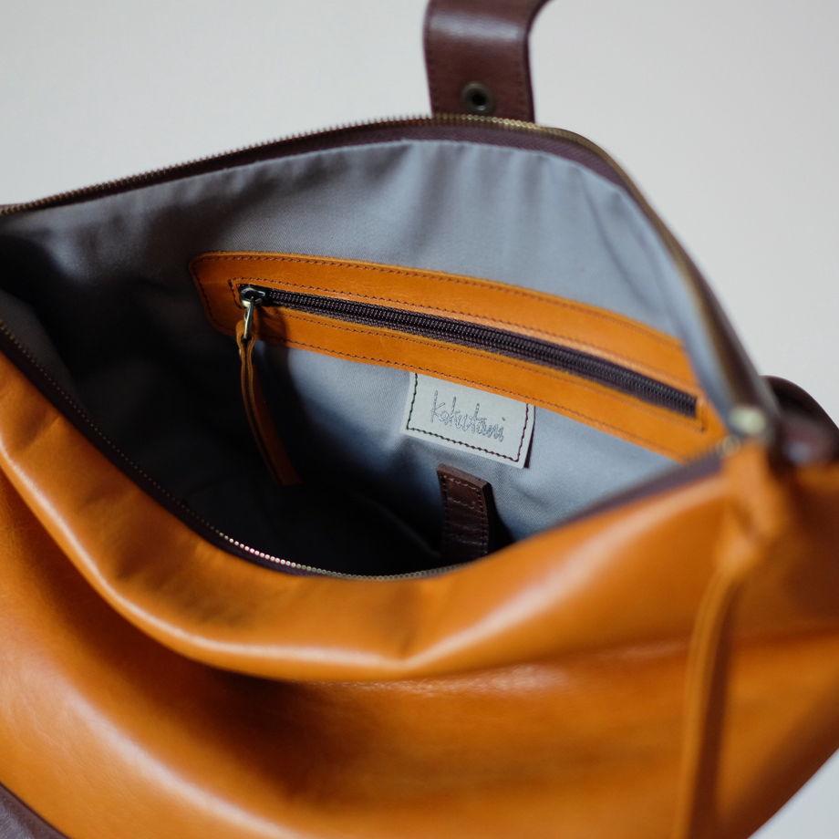 Рюкзак из коричневой и горчичной натуральной кожи