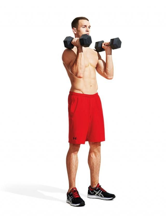Hold dumbbells at shoulder