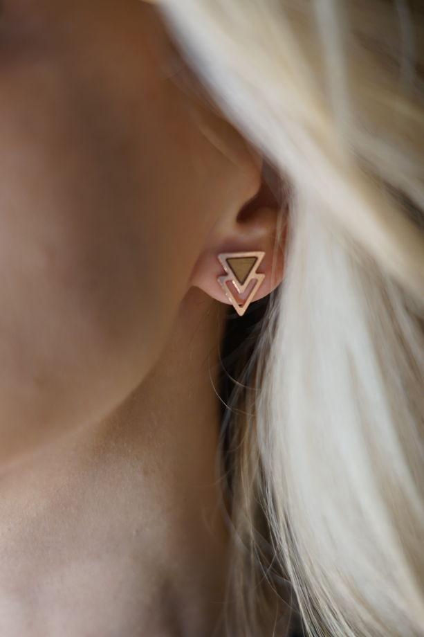 Серьги из розового серебра коллекция Двойной треугольник