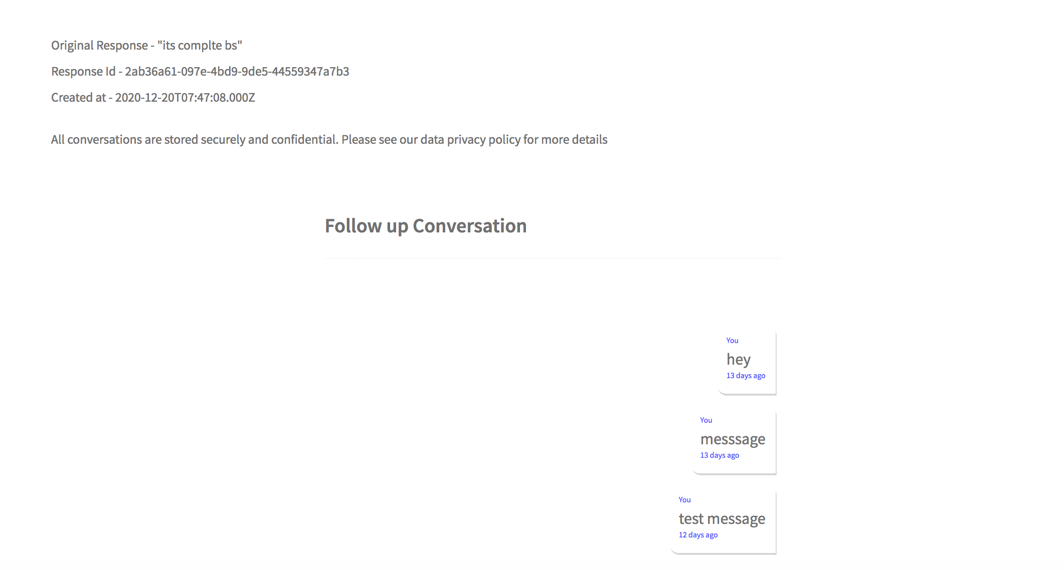 Screenshot example of private, direct messages in Candidly platform