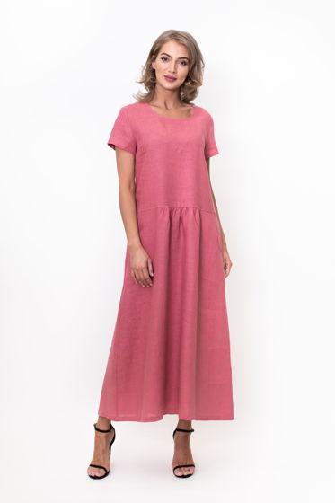 Длинное льняное платье (сухая роза)