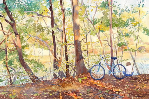 LDS art painted scene of a bike parked in the leaves next to a river.