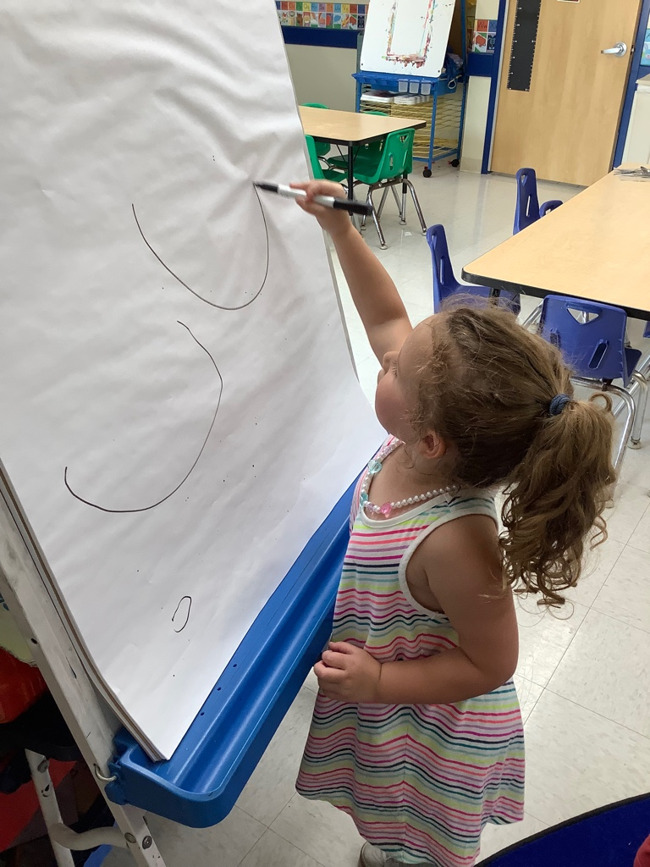 Today our PreKindergarten 1 students practiced writing the letters 'Gg' and 'Uu' while at small group literacy!  After practi
