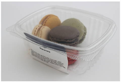 standard macaron packaging prior to makeover to eco friendly packaging for baked goods, canada