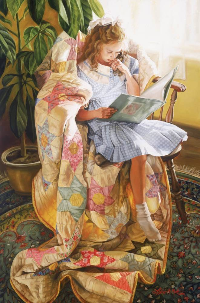 LDS art painting of a little girl reading in a rocking chair.