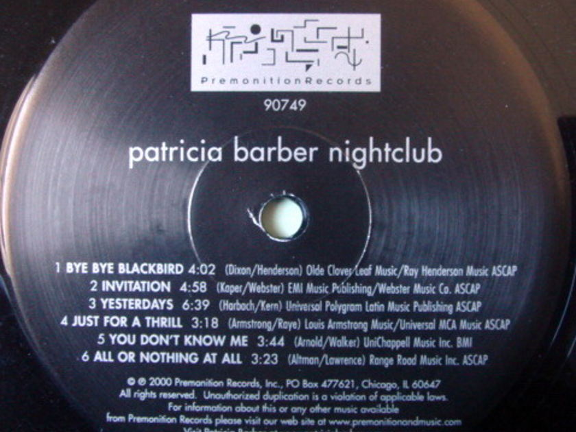 ★Audiophile 180g★ Premonition Records / PATRICIA BARBER, - Nightclub, Org 2000 Premonition Issue, MINT!