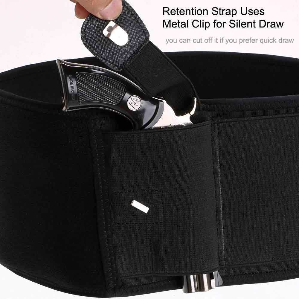new update for dragon belly band holster, retention strap uses metal clip for silent draw, you can out off it if you prefer quick draw.