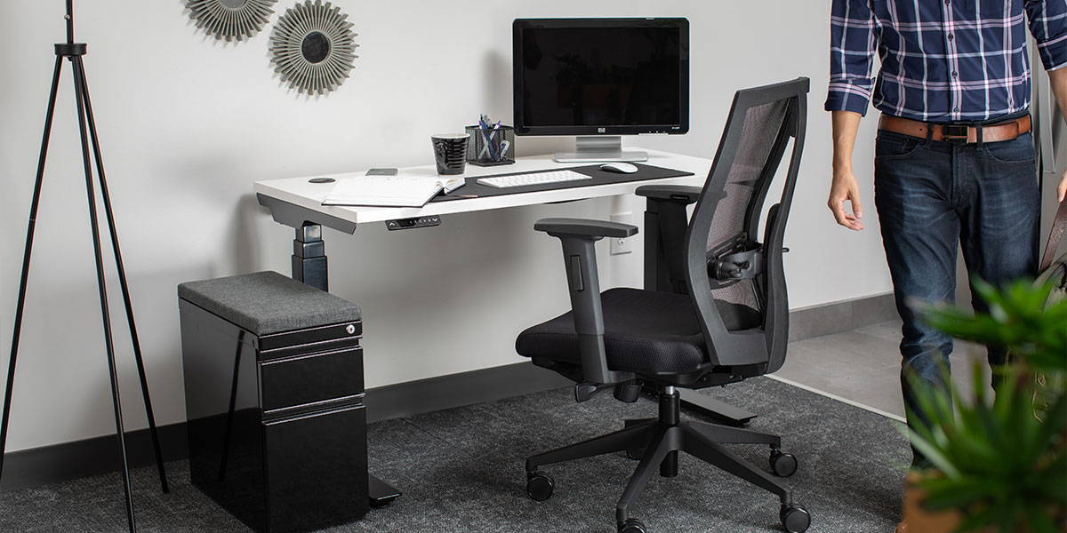 Home Office height-adjustable desk with black steel and white surface