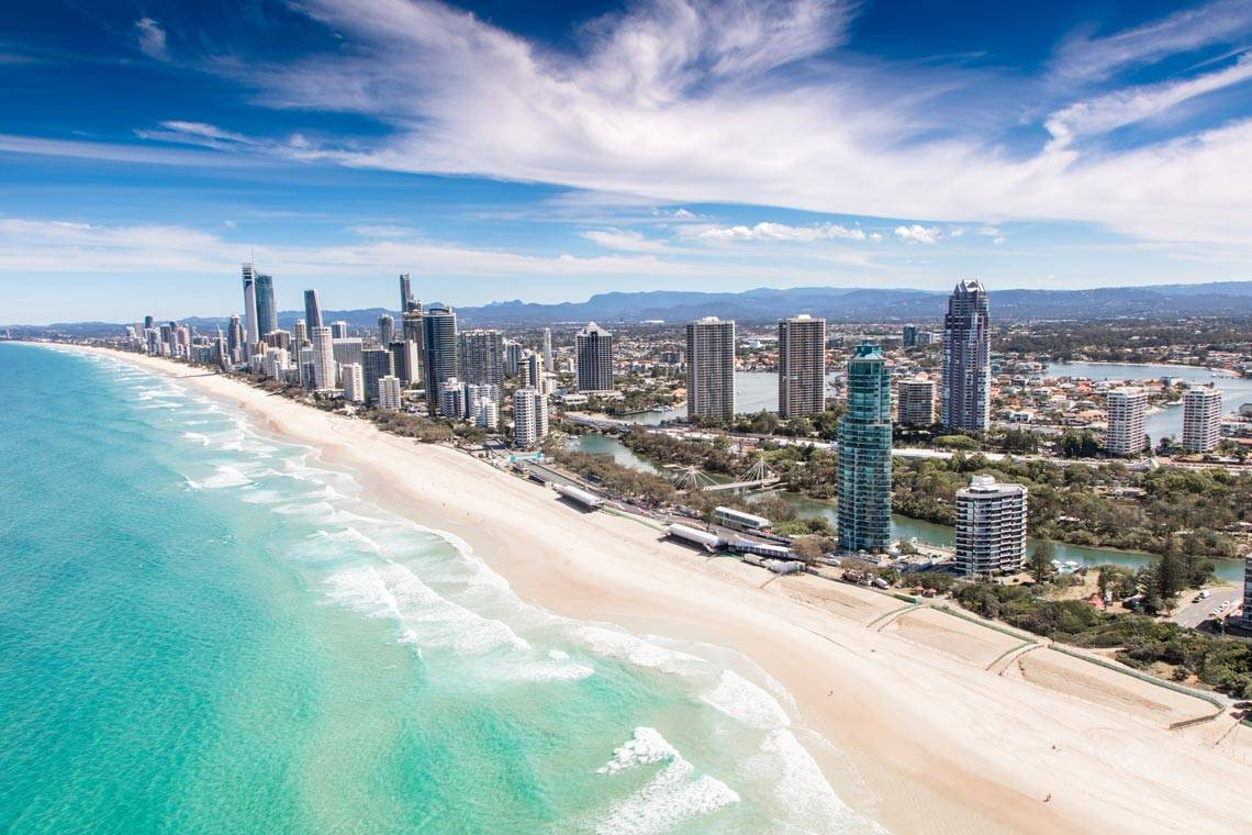 Goldcoast view beach from the sky