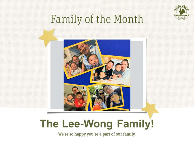 group picture of the lee-wong family for their family of the month poster