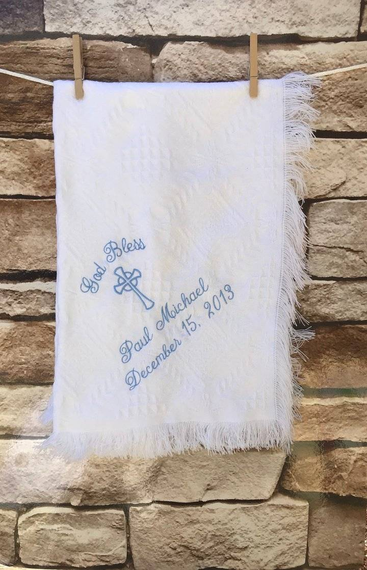 Faith and Begorra Personalized Embroidered Baptism/Birth Blanket Cross  Celtic Festival Online