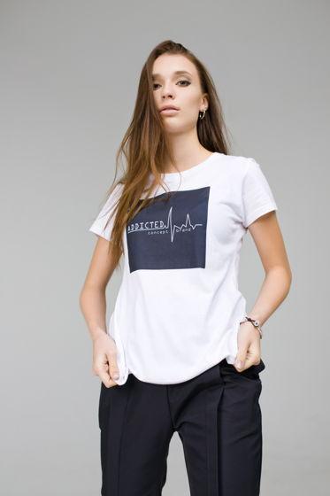 """Белая женская футболка """"ADDICTED"""""""