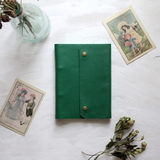 Кожаный блокнот А5 зелёный