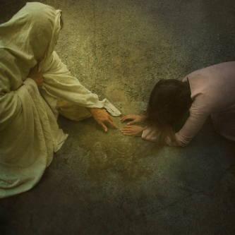 Image of the woman taken in adultry kneeling before Jesus Christ.