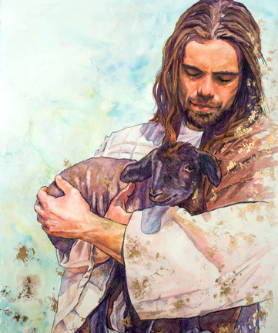 Painting of Jesus holding a lamb in His arms.