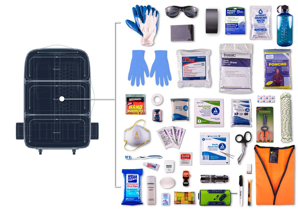 Supplies that fit into the middle module