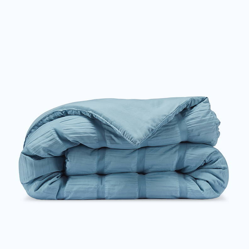 sleep zone bedding website store products collection modern luxe seersucker comforter cameo blue