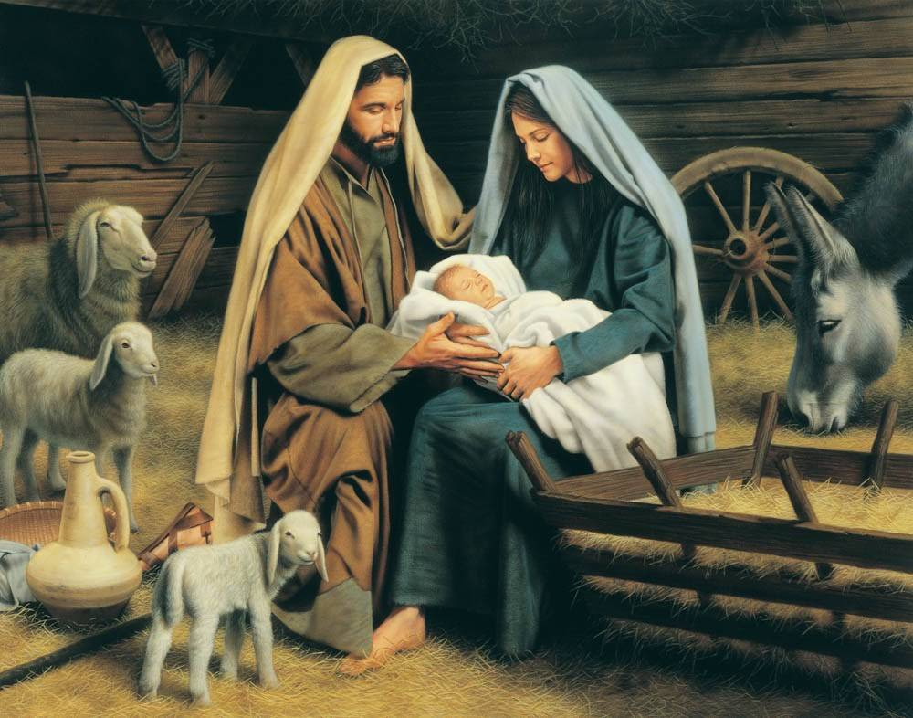 LDS Nativity art print of Mary and Joseph holding the infant Messiah among the livestock of the stable.