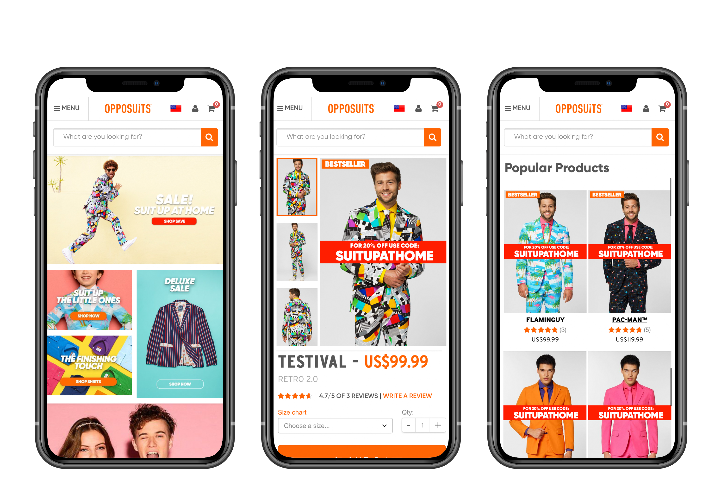 Opposuits website on mobile devices