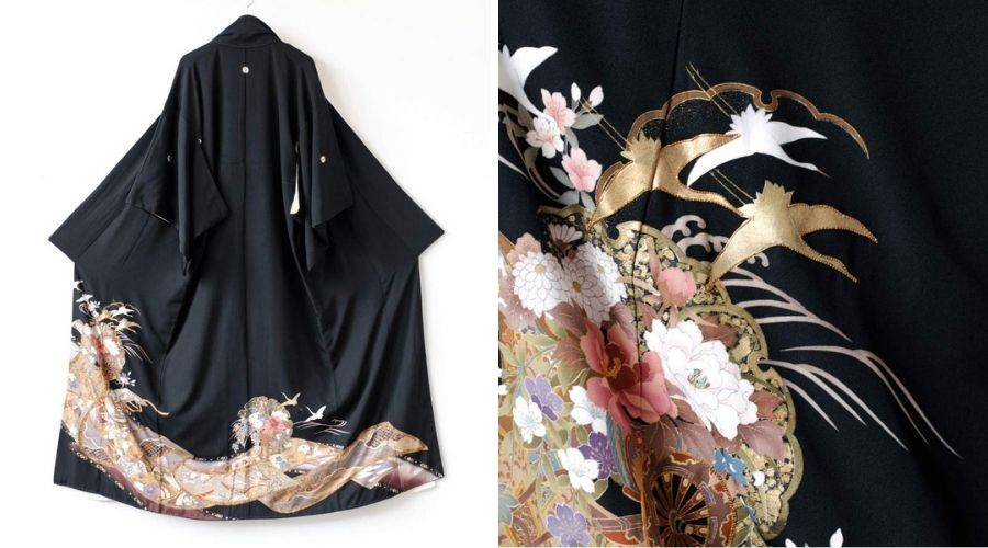 Hand painted and embroidered crane details on a japanese kimono robe