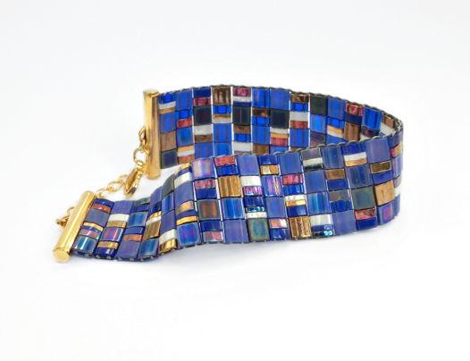 """Широкий синий браслет """"Климтомания"""" из японского бисера"""