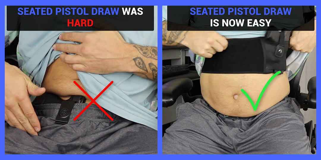Dragon belly band holster updated new feature. seated pistol draw was hard in the past, but with update, seated pistol draw is now easy, perfect for fat folks.
