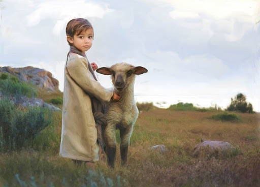 Jesus as a child standing next to a lamb.