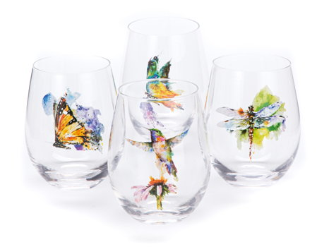 Nature Stemless Wine Glasses Set of 4