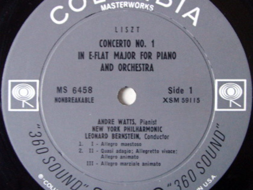 Columbia 2-EYE / ANDRE WATTS - Debut Album, Liszt Piano Concerto No.1, NM!