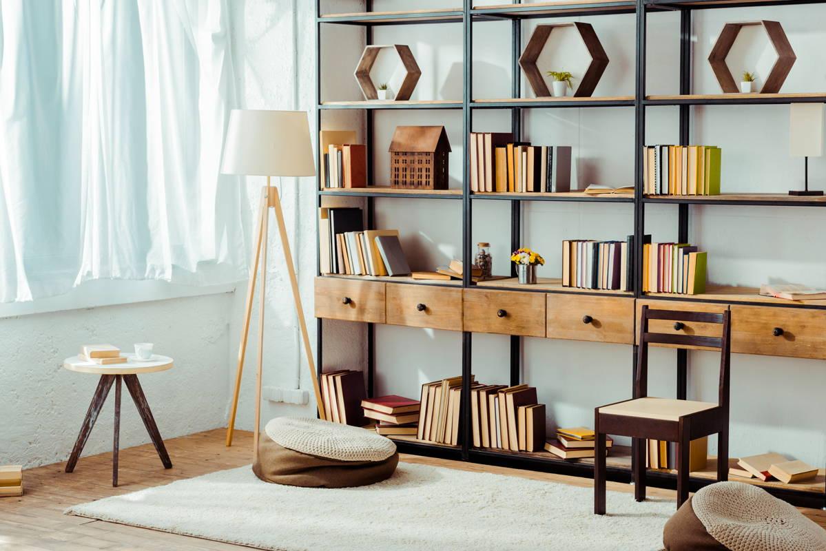 Bibliothèque en bois et acier lyon