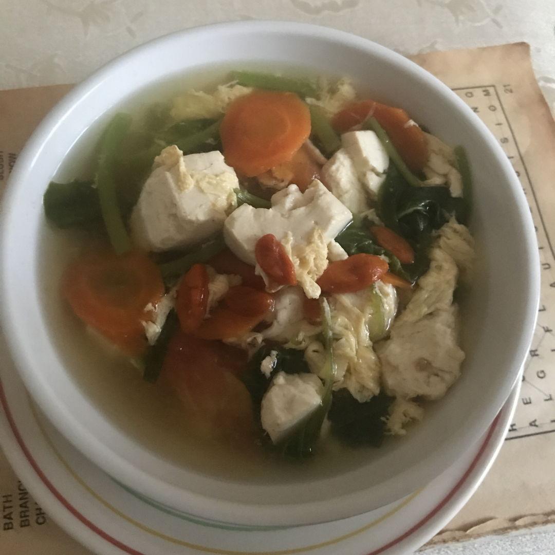 Tofu & egg soup!! 🥣 😁