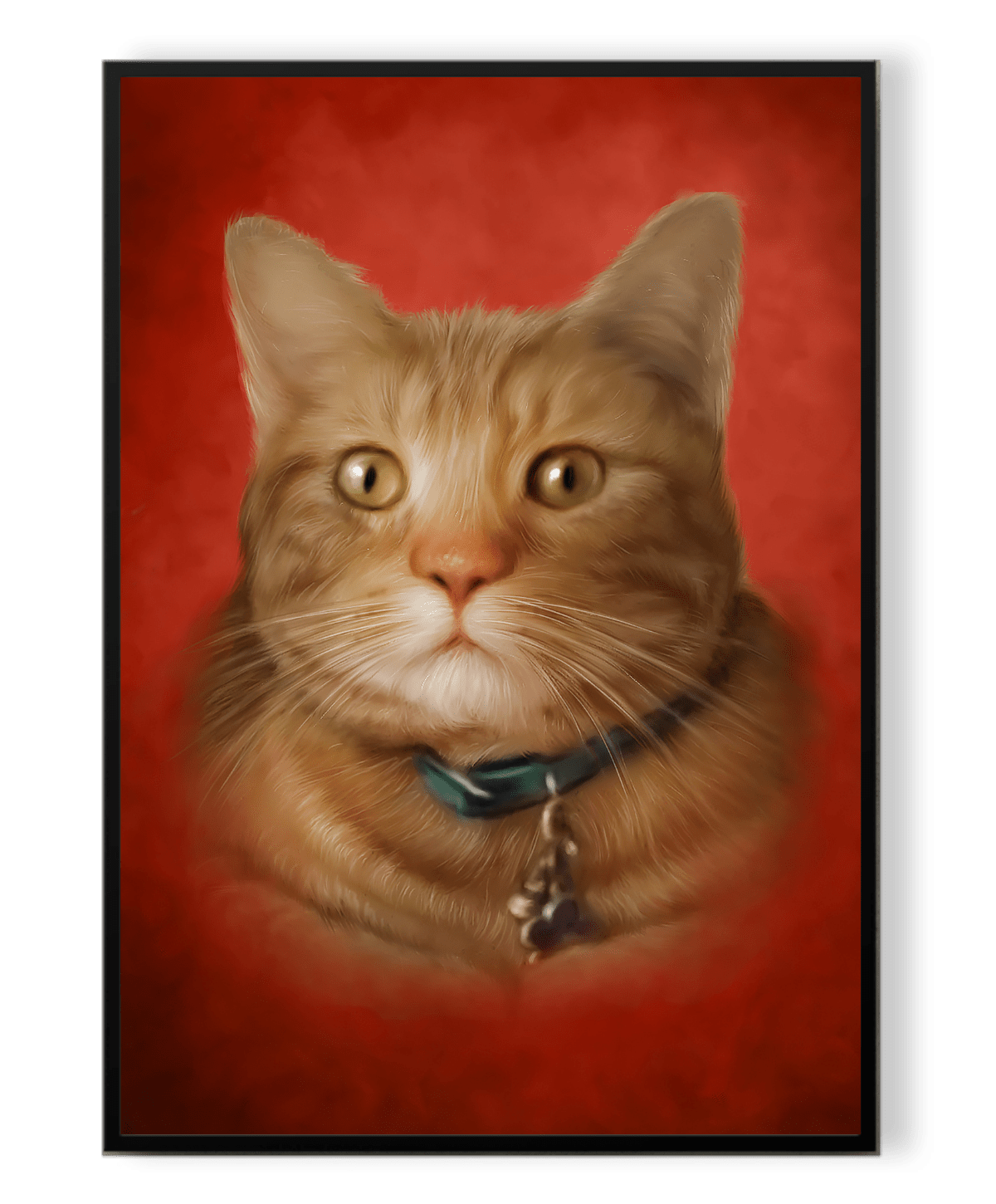One cat on inside a frame with red background